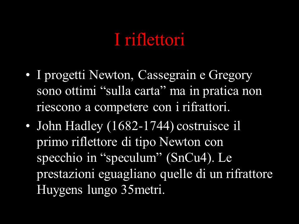 I riflettori I progetti Newton, Cassegrain e Gregory sono ottimi sulla carta ma in pratica non riescono a competere con i rifrattori. John Hadley (168