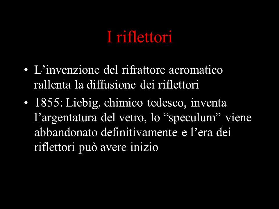I riflettori Linvenzione del rifrattore acromatico rallenta la diffusione dei riflettori 1855: Liebig, chimico tedesco, inventa largentatura del vetro