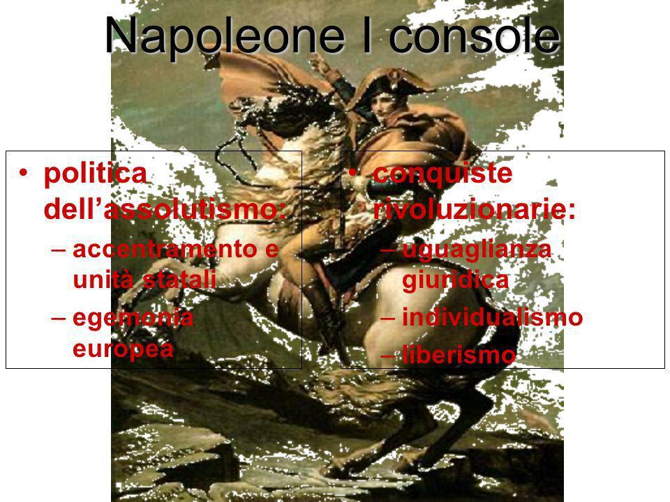 Napoleone I console politica dellassolutismo: –accentramento e unità statali –egemonia europea conquiste rivoluzionarie: –uguaglianza giuridica –indiv
