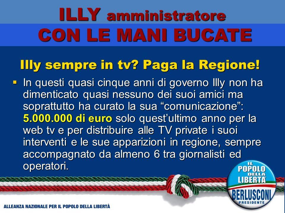Illy sempre in tv. Paga la Regione.