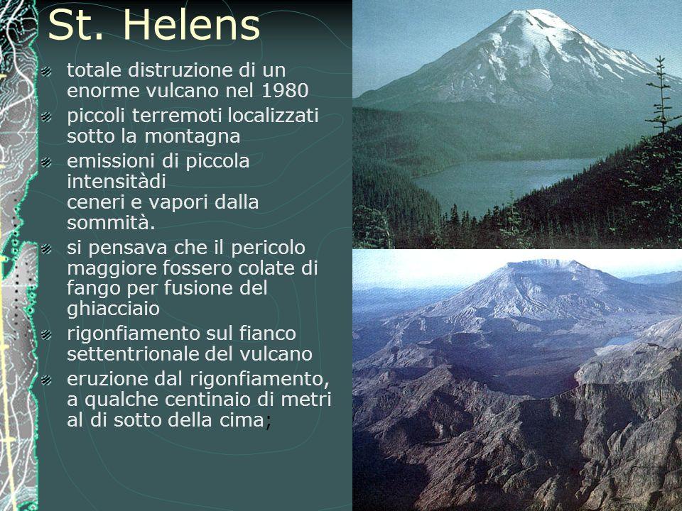 St. Helens totale distruzione di un enorme vulcano nel 1980 piccoli terremoti localizzati sotto la montagna emissioni di piccola intensitàdi ceneri e
