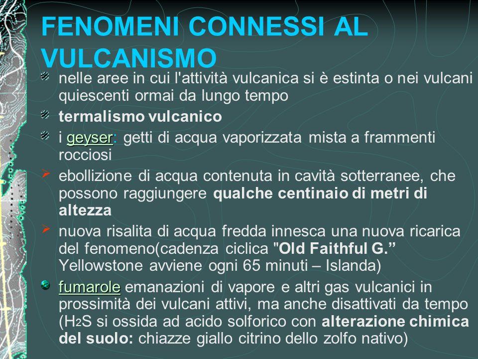 FENOMENI CONNESSI AL VULCANISMO nelle aree in cui l'attività vulcanica si è estinta o nei vulcani quiescenti ormai da lungo tempo termalismo vulcanico