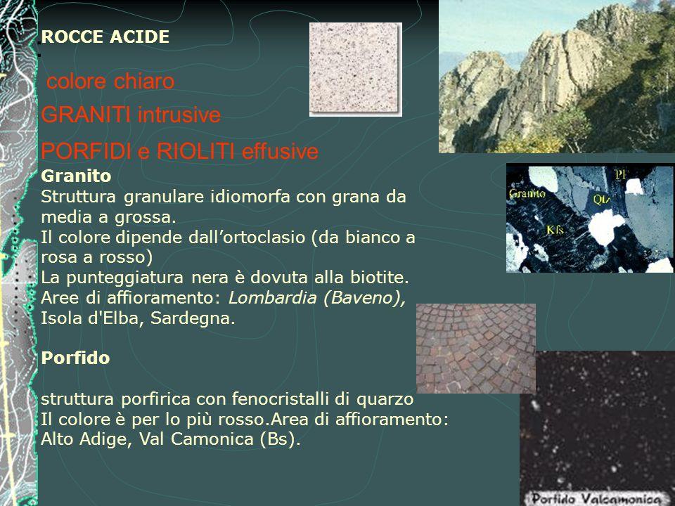 : ROCCE ACIDE colore chiaro GRANITI intrusive PORFIDI e RIOLITI effusive Granito Struttura granulare idiomorfa con grana da media a grossa. Il colore