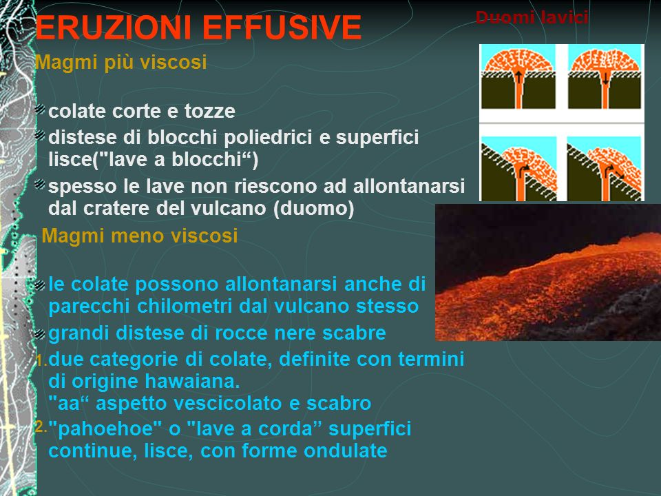 ERUZIONI EFFUSIVE Magmi più viscosi colate corte e tozze distese di blocchi poliedrici e superfici lisce(