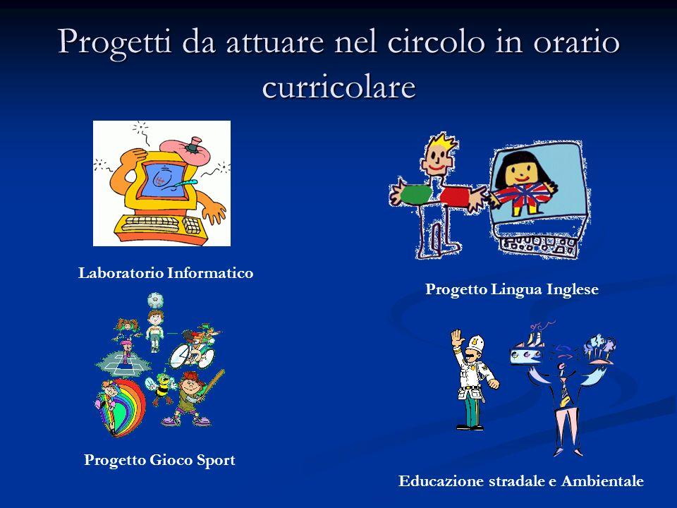 Progetti da attuare nel circolo in orario curricolare Progetto Lingua Inglese Laboratorio Informatico Progetto Gioco Sport Educazione stradale e Ambie