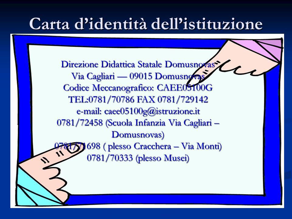 Carta didentità dellistituzione Direzione Didattica Statale Domusnovas Via Cagliari 09015 Domusnovas Codice Meccanografico: CAEE05100G TEL:0781/70786