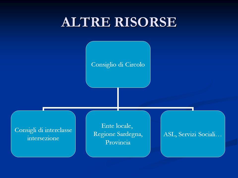 ALTRE RISORSE Consiglio di Circolo Consigli di interclasse intersezione Ente locale, Regione Sardegna, Provincia ASL, Servizi Sociali…