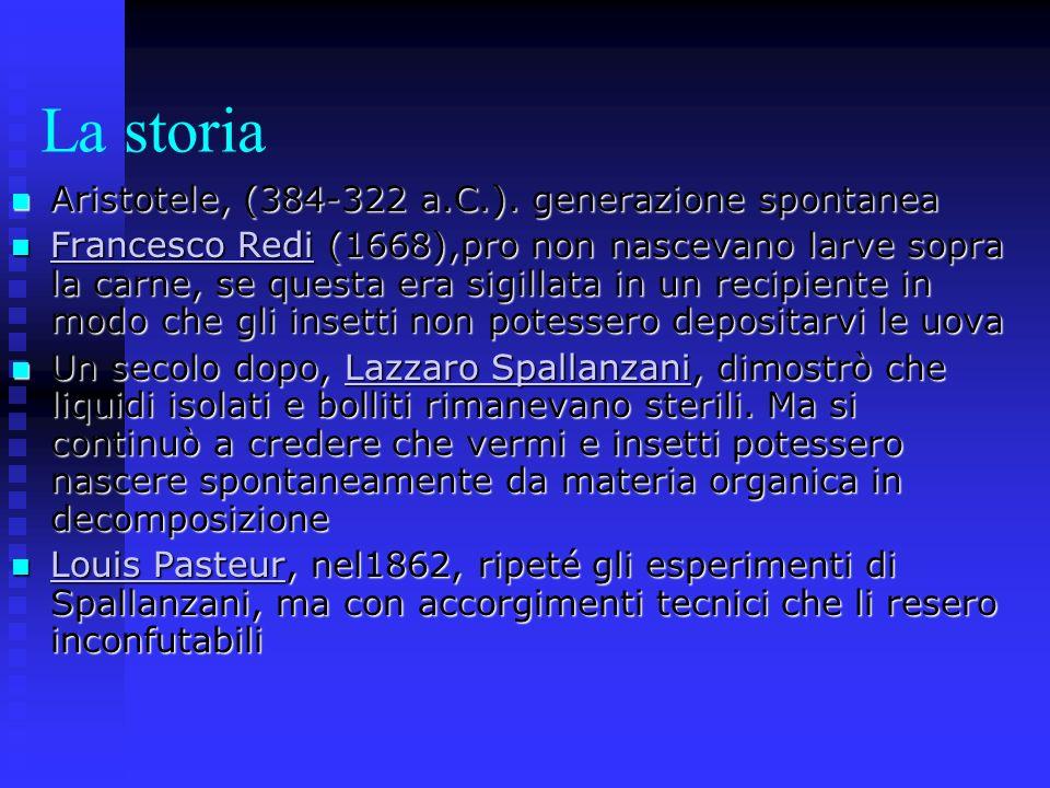 La storia Aristotele, (384-322 a.C.). generazione spontanea Aristotele, (384-322 a.C.). generazione spontanea Francesco Redi (1668),pro non nascevano
