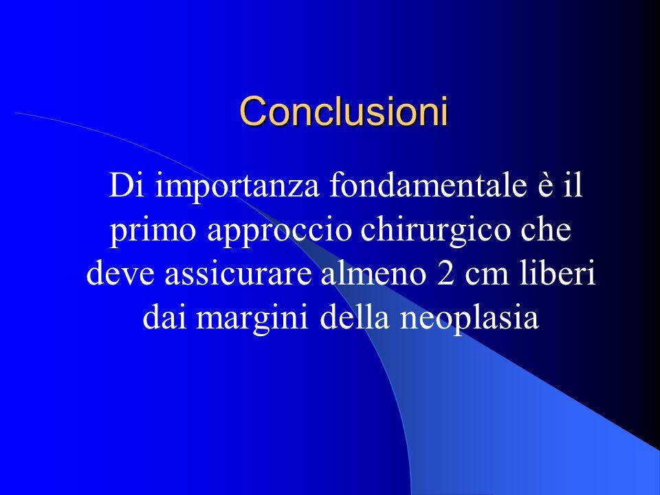 Conclusioni Di importanza fondamentale è il primo approccio chirurgico che deve assicurare almeno 2 cm liberi dai margini della neoplasia