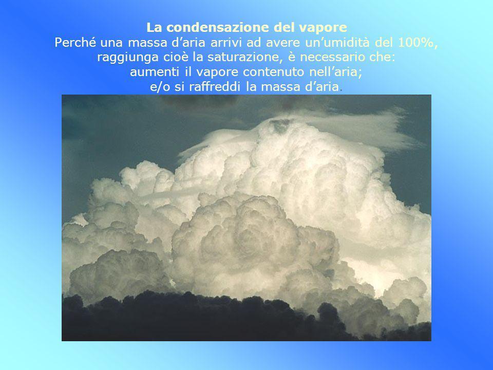 La condensazione del vapore Perché una massa daria arrivi ad avere unumidità del 100%, raggiunga cioè la saturazione, è necessario che: aumenti il vap