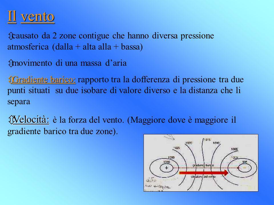 Il vento ôcausato da 2 zone contigue che hanno diversa pressione atmosferica (dalla + alta alla + bassa) ômovimento di una massa daria ôGradiente bari