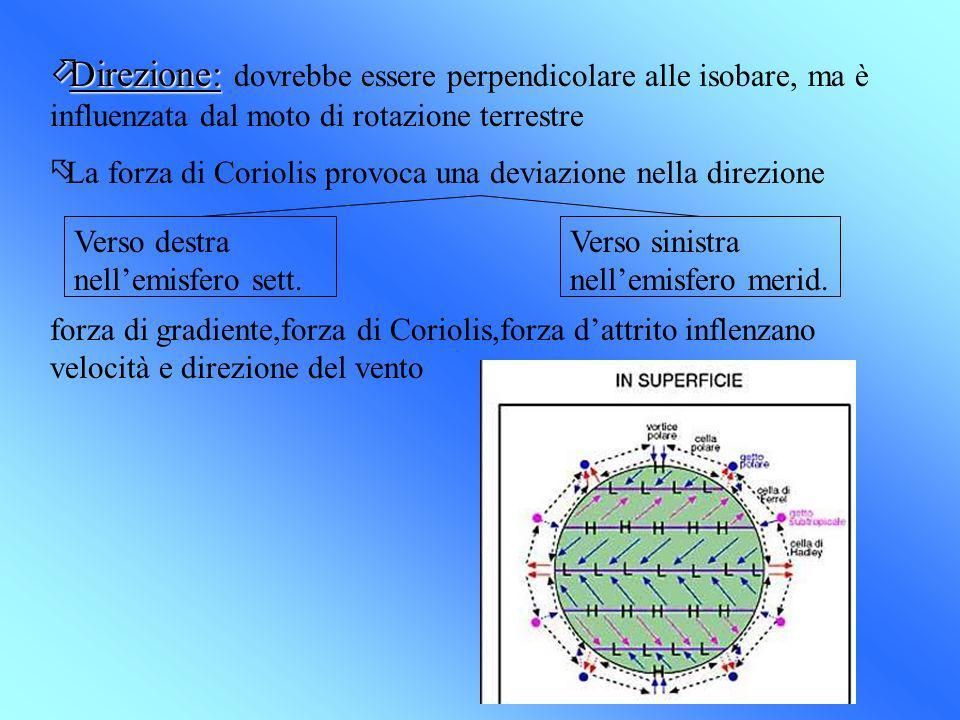 öDirezione: öDirezione: dovrebbe essere perpendicolare alle isobare, ma è influenzata dal moto di rotazione terrestre õLa forza di Coriolis provoca un