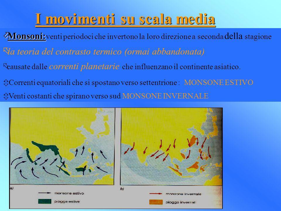 I movimenti su scala media öMonsoni: öMonsoni: venti periodoci che invertono la loro direzione a seconda della stagione õla teoria del contrasto termi
