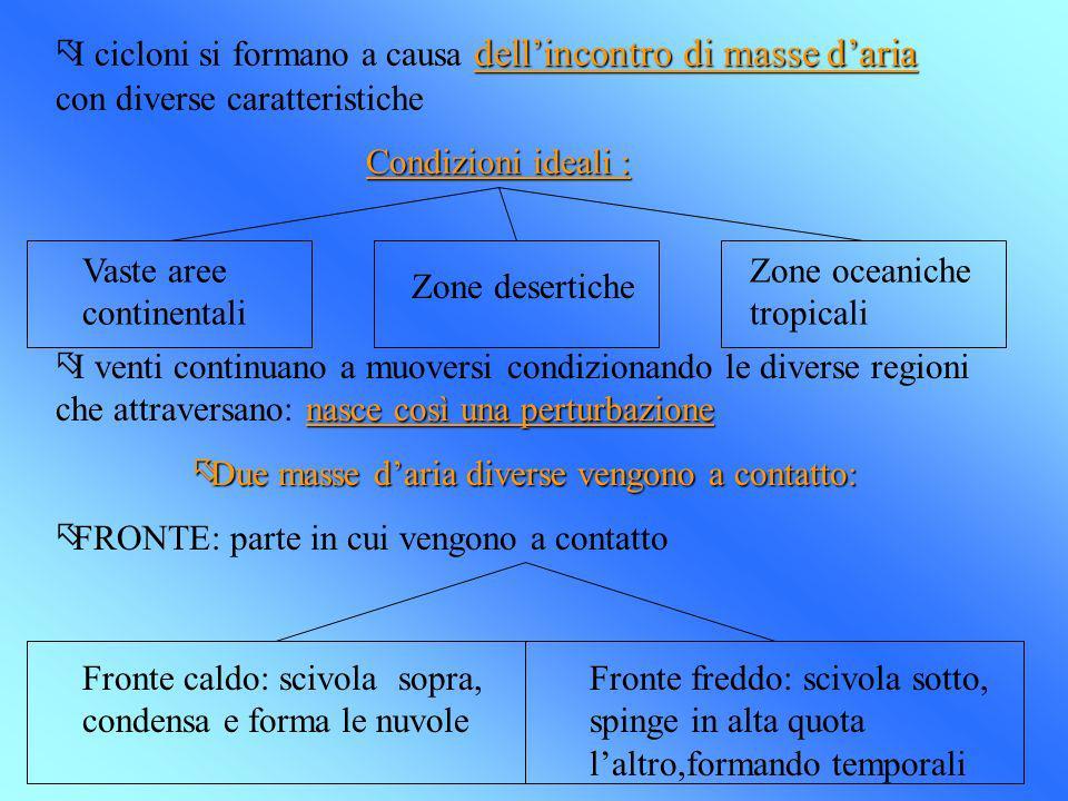 dellincontro di masse daria õI cicloni si formano a causa dellincontro di masse daria con diverse caratteristiche Condizioni ideali : Vaste aree conti