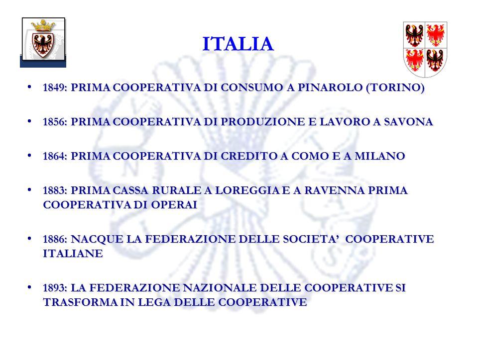 10 ITALIA 1849: PRIMA COOPERATIVA DI CONSUMO A PINAROLO (TORINO) 1849: PRIMA COOPERATIVA DI CONSUMO A PINAROLO (TORINO) 1856: PRIMA COOPERATIVA DI PRODUZIONE E LAVORO A SAVONA 1856: PRIMA COOPERATIVA DI PRODUZIONE E LAVORO A SAVONA 1864: PRIMA COOPERATIVA DI CREDITO A COMO E A MILANO 1864: PRIMA COOPERATIVA DI CREDITO A COMO E A MILANO 1883: PRIMA CASSA RURALE A LOREGGIA E A RAVENNA PRIMA COOPERATIVA DI OPERAI 1883: PRIMA CASSA RURALE A LOREGGIA E A RAVENNA PRIMA COOPERATIVA DI OPERAI 1886: NACQUE LA FEDERAZIONE DELLE SOCIETA COOPERATIVE ITALIANE 1886: NACQUE LA FEDERAZIONE DELLE SOCIETA COOPERATIVE ITALIANE 1893: LA FEDERAZIONE NAZIONALE DELLE COOPERATIVE SI TRASFORMA IN LEGA DELLE COOPERATIVE 1893: LA FEDERAZIONE NAZIONALE DELLE COOPERATIVE SI TRASFORMA IN LEGA DELLE COOPERATIVE