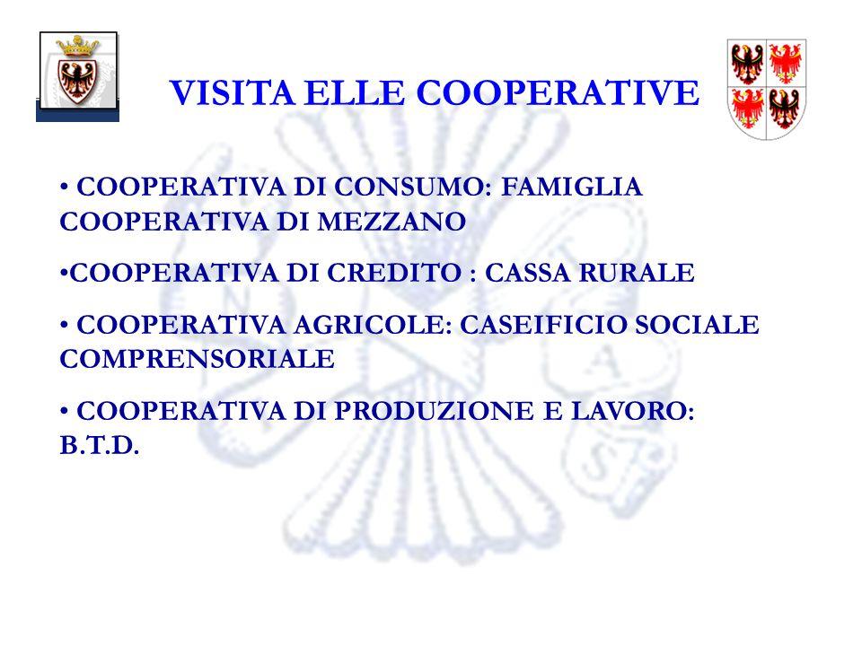 19 VISITA ELLE COOPERATIVE COOPERATIVA DI CONSUMO: FAMIGLIA COOPERATIVA DI MEZZANO COOPERATIVA DI CREDITO : CASSA RURALE COOPERATIVA AGRICOLE: CASEIFICIO SOCIALE COMPRENSORIALE COOPERATIVA DI PRODUZIONE E LAVORO: B.T.D.