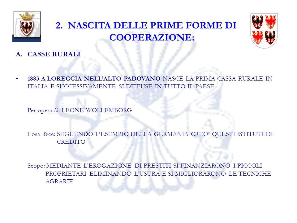 6 2. NASCITA DELLE PRIME FORME DI COOPERAZIONE: A.CASSE RURALI 1883 A LOREGGIA NELLALTO PADOVANO NASCE LA PRIMA CASSA RURALE IN ITALIA E SUCCESSIVAMEN
