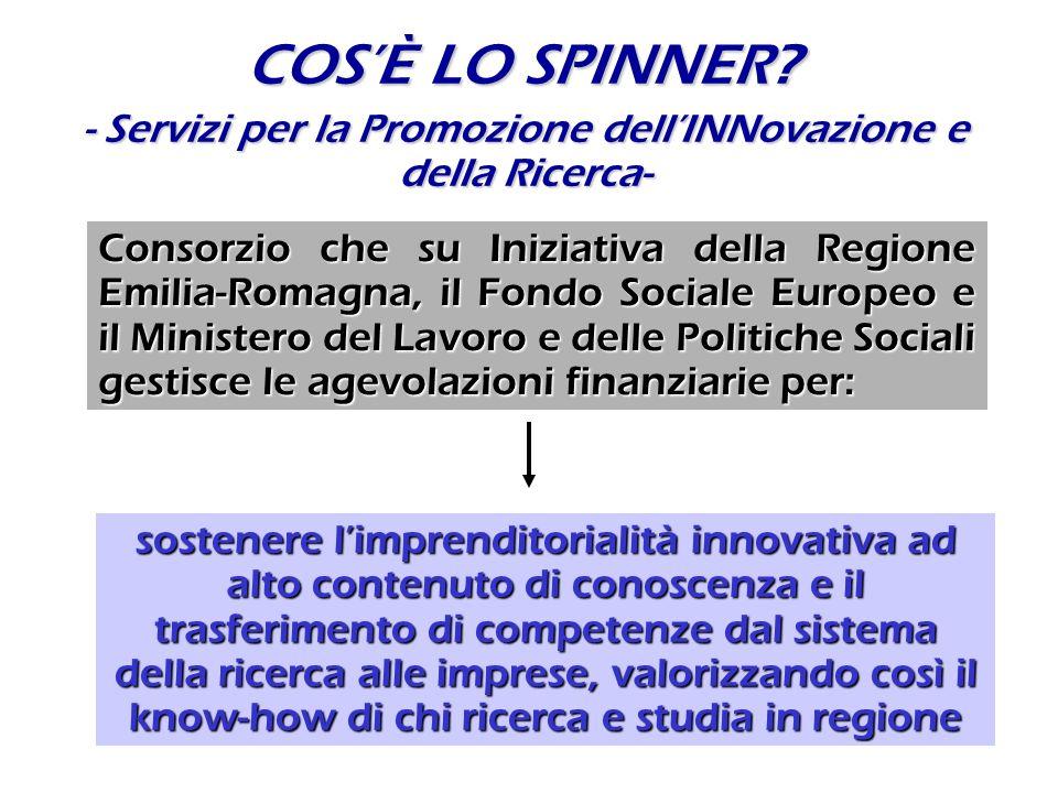 COSÈ LO SPINNER? - Servizi per la Promozione dellINNovazione e della Ricerca- Consorzio che su Iniziativa della Regione Emilia-Romagna, il Fondo Socia