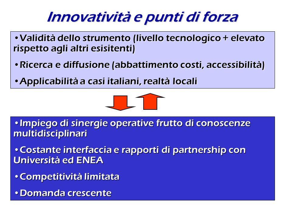 Innovatività e punti di forza Validità dello strumento (livello tecnologico + elevato rispetto agli altri esisitenti)Validità dello strumento (livello