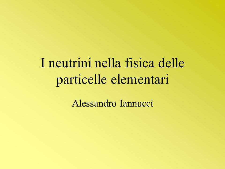 I neutrini nella fisica delle particelle elementari Alessandro Iannucci
