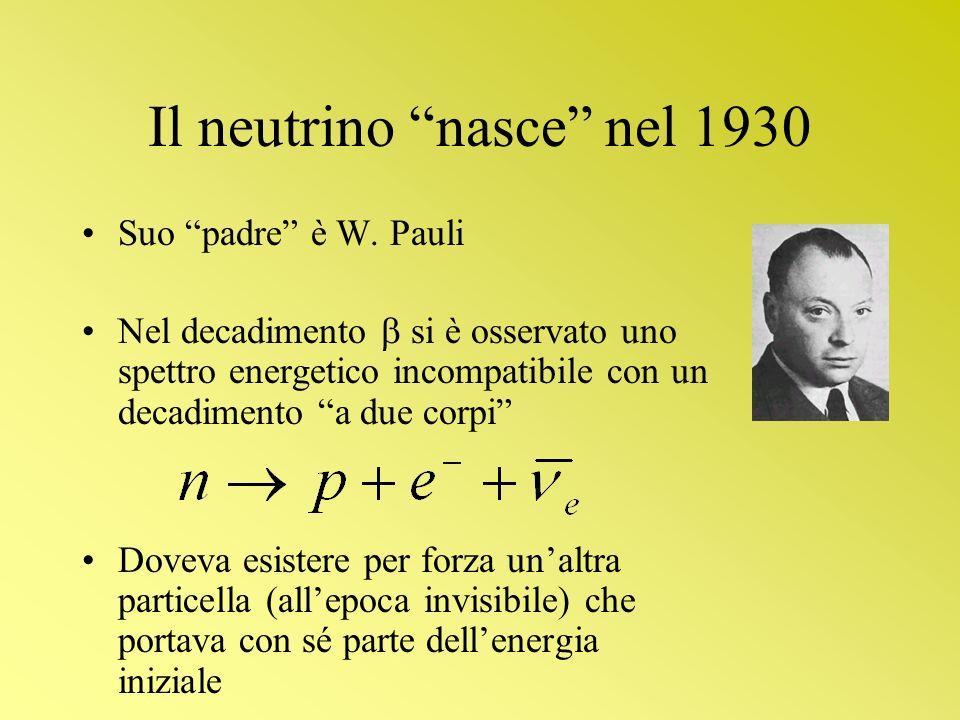 Il neutrino nasce nel 1930 Suo padre è W. Pauli Nel decadimento si è osservato uno spettro energetico incompatibile con un decadimento a due corpi Dov
