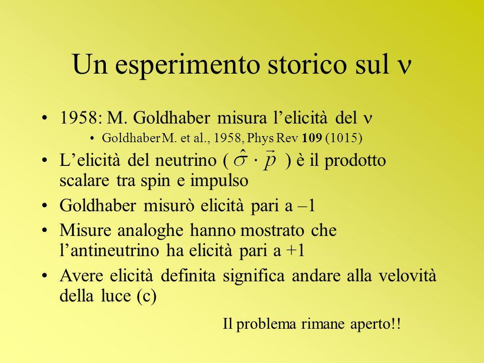 Un esperimento storico sul 1958: M. Goldhaber misura lelicità del Goldhaber M. et al., 1958, Phys Rev 109 (1015) Lelicità del neutrino ( ) è il prodot