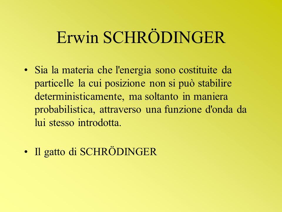 Erwin SCHRÖDINGER Sia la materia che l'energia sono costituite da particelle la cui posizione non si può stabilire deterministicamente, ma soltanto in
