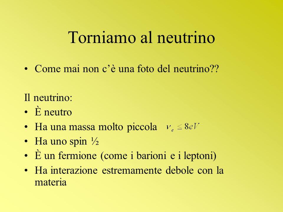 Torniamo al neutrino Come mai non cè una foto del neutrino?? Il neutrino: È neutro Ha una massa molto piccola Ha uno spin ½ È un fermione (come i bari