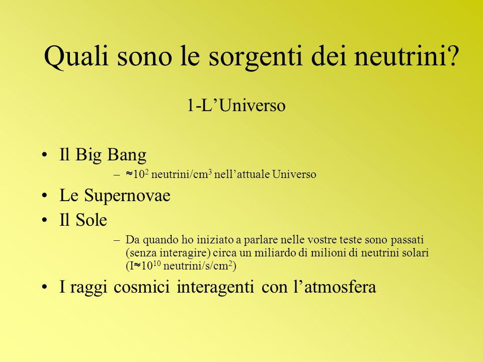 Quali sono le sorgenti dei neutrini? 1-LUniverso Il Big Bang – 10 2 neutrini/cm 3 nellattuale Universo Le Supernovae Il Sole –Da quando ho iniziato a