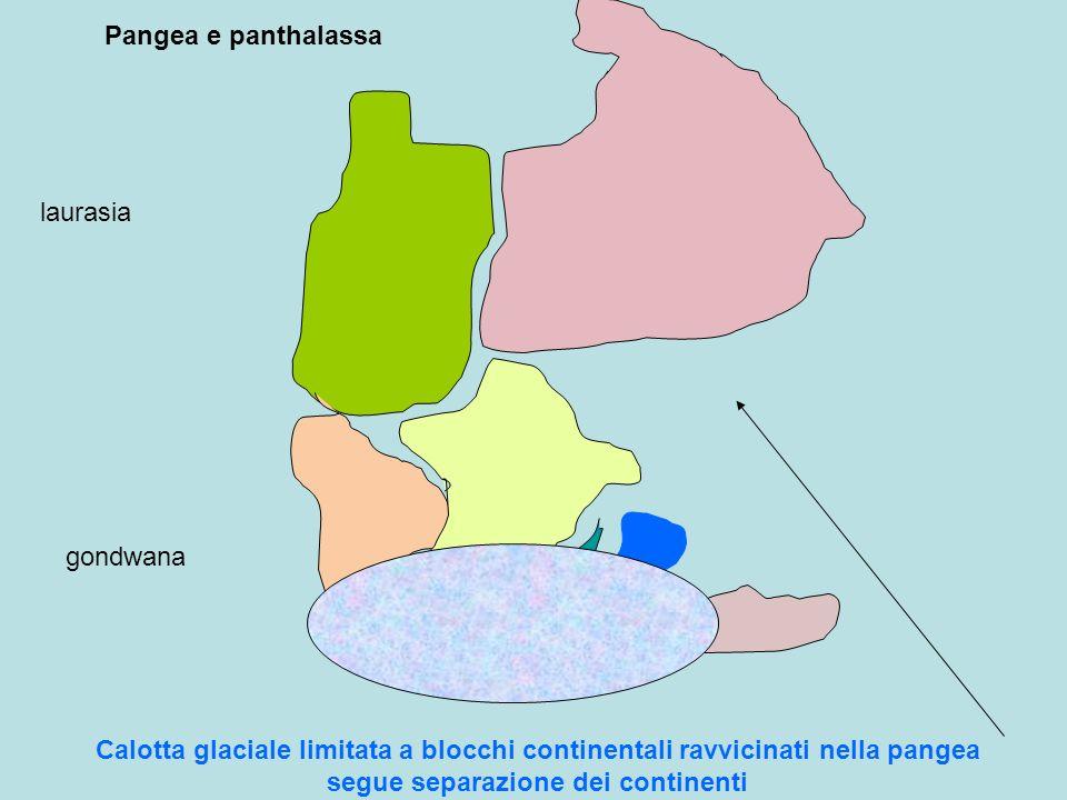 Pangea e panthalassa laurasia gondwana Calotta glaciale limitata a blocchi continentali ravvicinati nella pangea segue separazione dei continenti