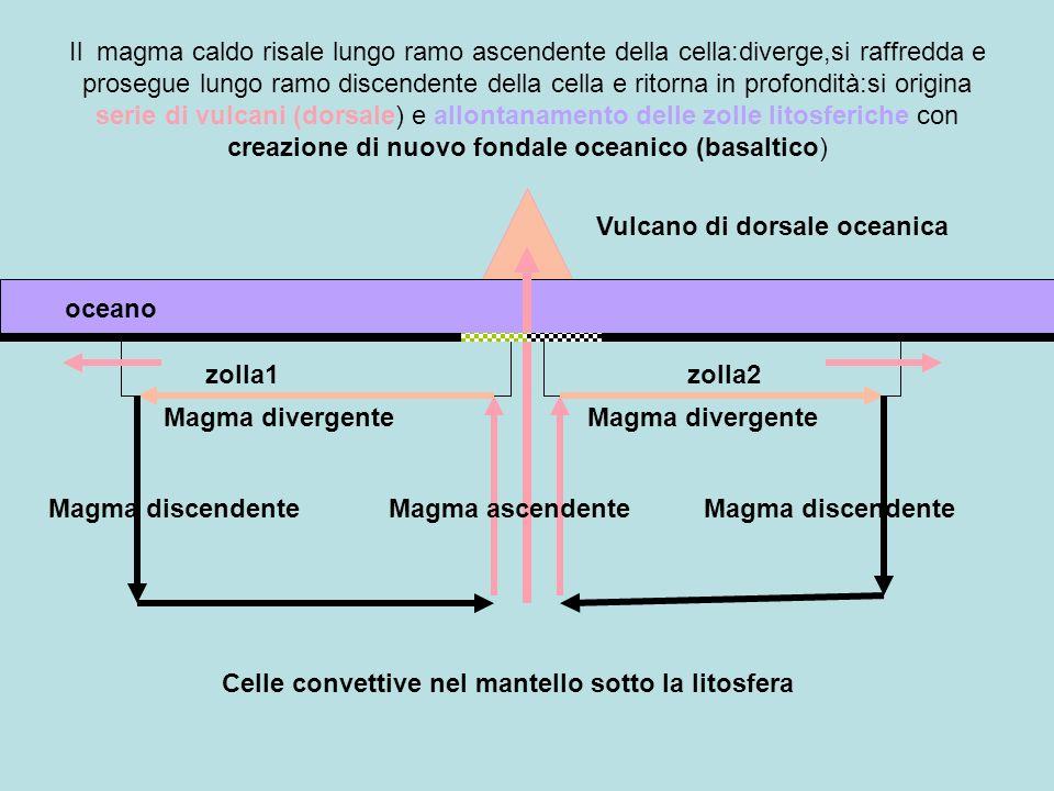 zolla1zolla2 oceano Celle convettive nel mantello sotto la litosfera Vulcano di dorsale oceanica Magma ascendenteMagma discendente Magma divergente Il