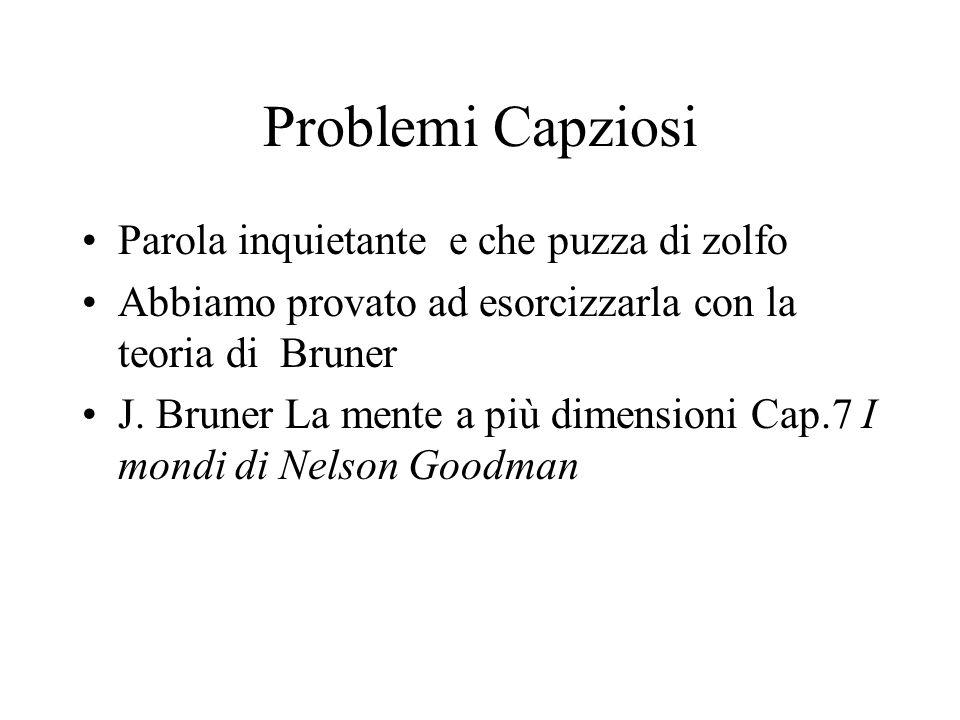 Problemi Capziosi Parola inquietante e che puzza di zolfo Abbiamo provato ad esorcizzarla con la teoria di Bruner J.