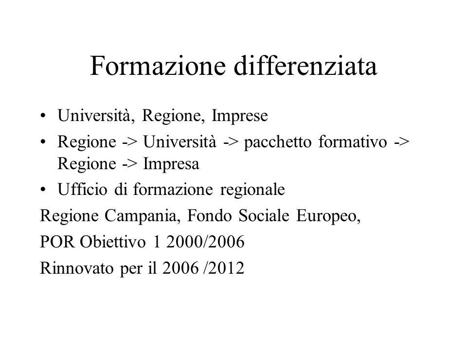 Formazione differenziata Università, Regione, Imprese Regione -> Università -> pacchetto formativo -> Regione -> Impresa Ufficio di formazione regionale Regione Campania, Fondo Sociale Europeo, POR Obiettivo 1 2000/2006 Rinnovato per il 2006 /2012