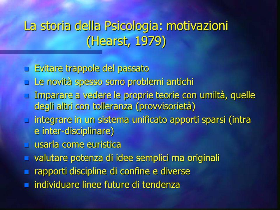 La storia della Psicologia: motivazioni (Hearst, 1979) n Evitare trappole del passato n Le novità spesso sono problemi antichi n Imparare a vedere le