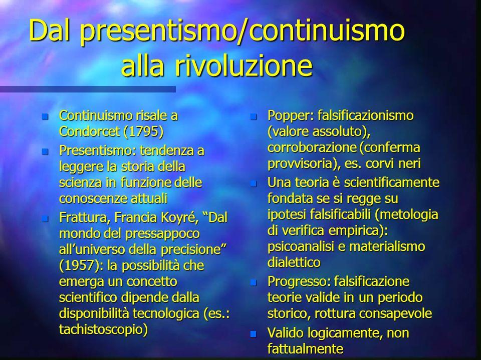 Dal presentismo/continuismo alla rivoluzione n Continuismo risale a Condorcet (1795) n Presentismo: tendenza a leggere la storia della scienza in funz