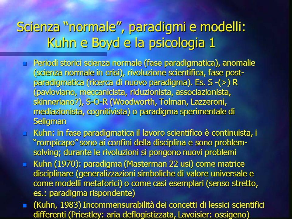 Scienza normale, paradigmi e modelli: Kuhn e Boyd e la psicologia 1 n Periodi storici scienza normale (fase paradigmatica), anomalie (scienza normale