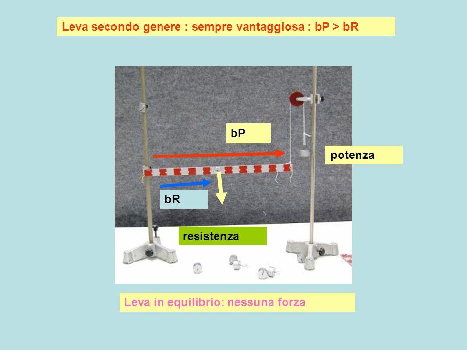 Leva secondo genere : sempre vantaggiosa :bP > bR Resistenza = 4 Potenza = 2 bP bR