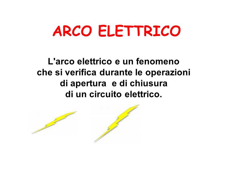 ARCO ELETTRICO L'arco elettrico e un fenomeno che si verifica durante le operazioni di apertura e di chiusura di un circuito elettrico.