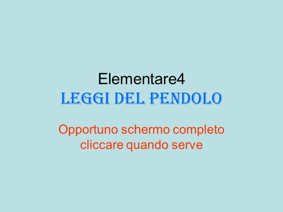 Elementare4 leggi del pendolo Opportuno schermo completo cliccare quando serve