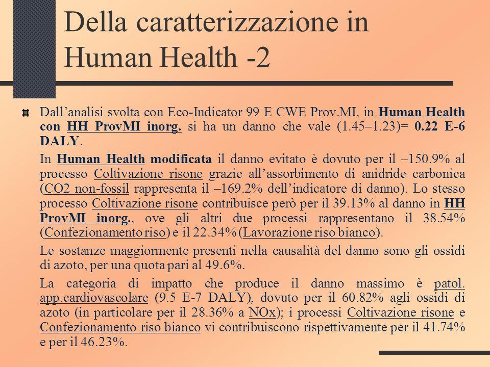 Della caratterizzazione in Human Health -2 Dallanalisi svolta con Eco-Indicator 99 E CWE Prov.MI, in Human Health con HH ProvMI inorg. si ha un danno