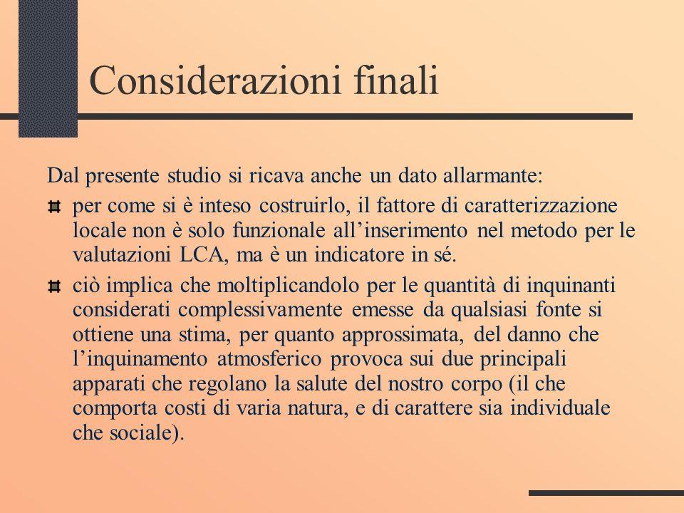 Considerazioni finali Dal presente studio si ricava anche un dato allarmante: per come si è inteso costruirlo, il fattore di caratterizzazione locale