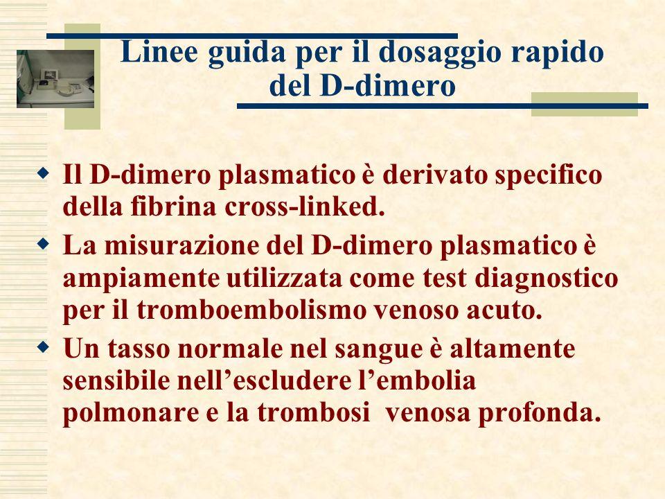 Linee guida per il dosaggio rapido del D-dimero Il D-dimero plasmatico è derivato specifico della fibrina cross-linked. La misurazione del D-dimero pl