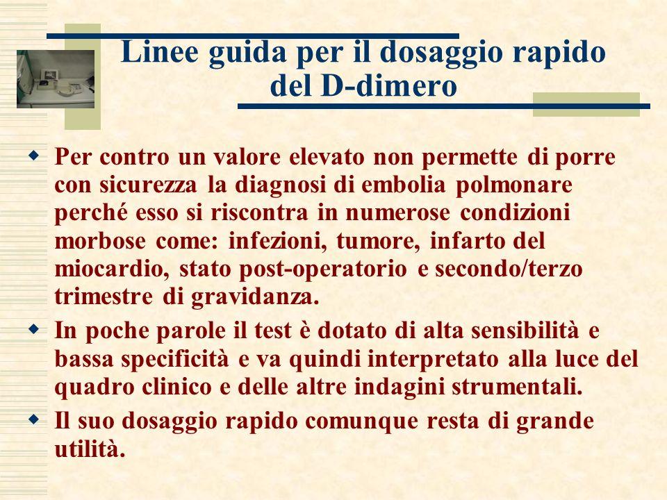 Linee guida per il dosaggio rapido del D-dimero Per contro un valore elevato non permette di porre con sicurezza la diagnosi di embolia polmonare perc