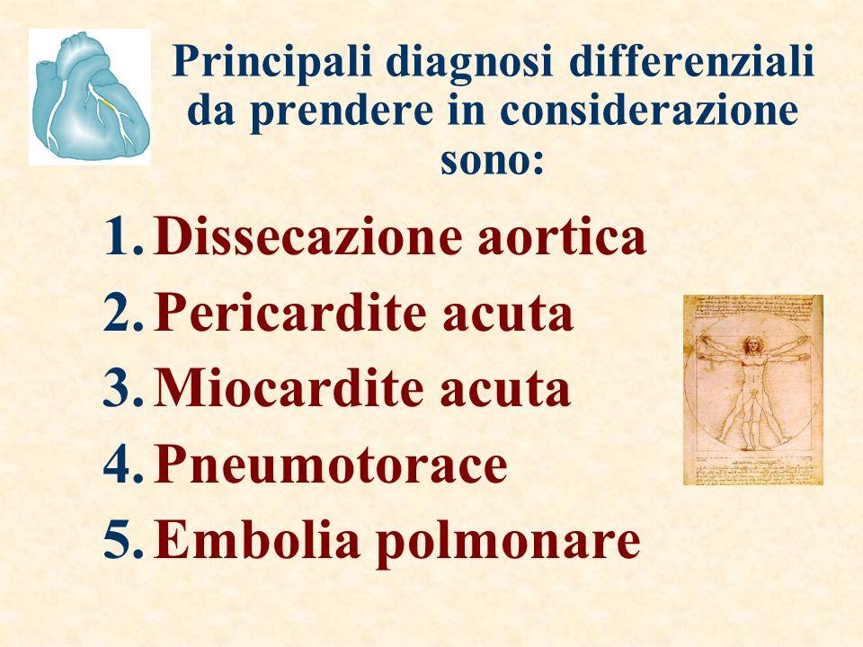 Principali diagnosi differenziali da prendere in considerazione sono: 1.Dissecazione aortica 2.Pericardite acuta 3.Miocardite acuta 4.Pneumotorace 5.Embolia polmonare