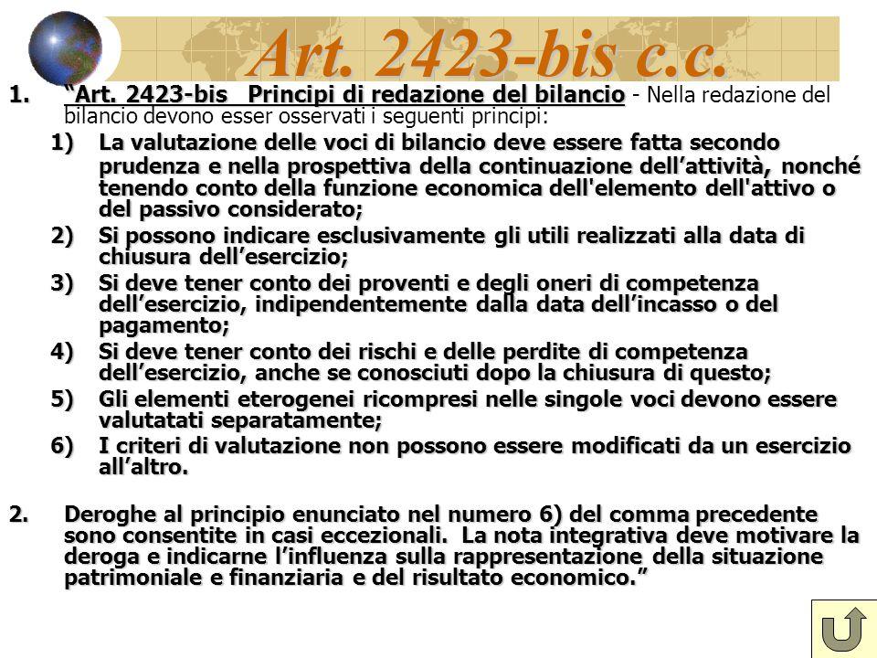Art.2423-bis c.c. 1.Art. 2423-bis Principi di redazione del bilancio 1.Art.