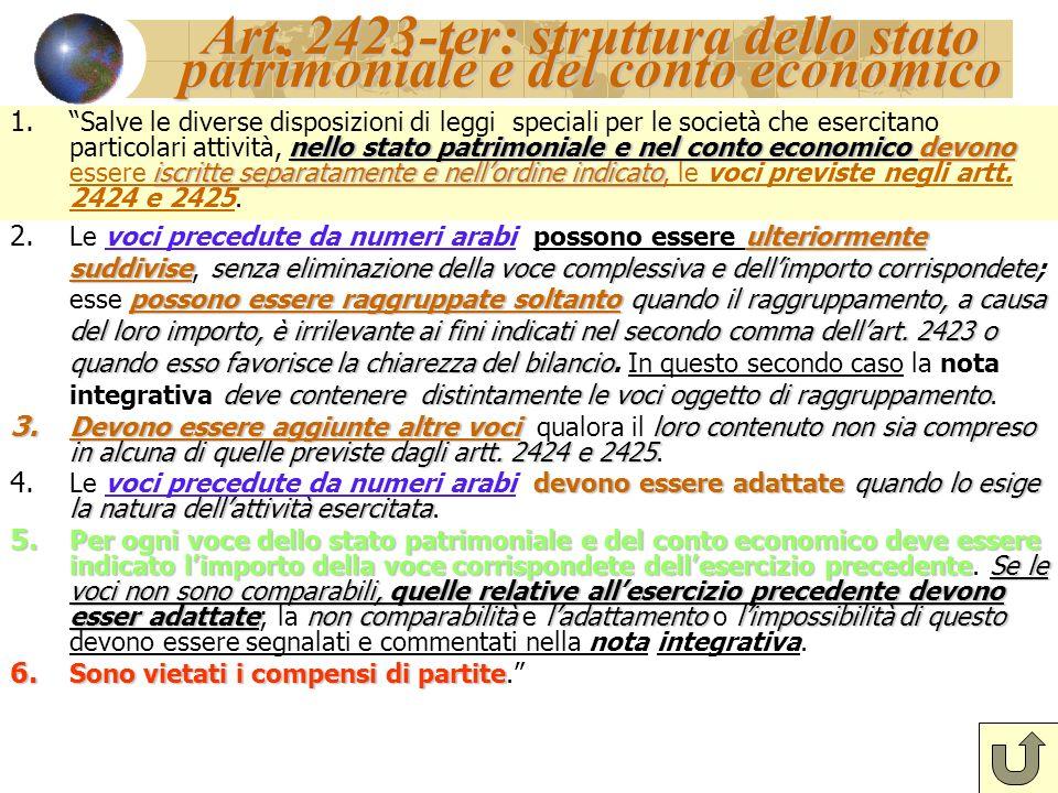 Art. 2423-ter: struttura dello stato patrimoniale e del conto economico nello stato patrimoniale e nel conto economico devono iscritte separatamente e