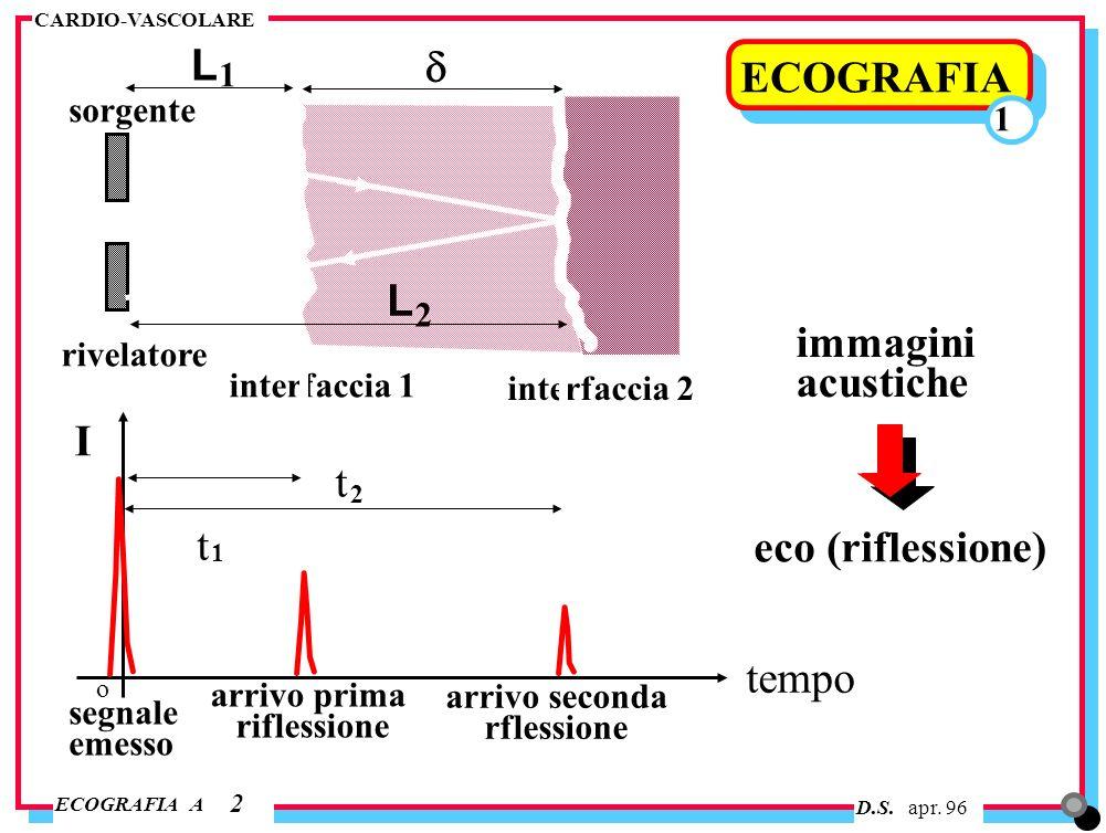 D.S. apr. 96 ECOGRAFIA A CARDIO-VASCOLARE ECOGRAFIA 2 1 sorgente rivelatore interfaccia 1 interfaccia 2 L L 1 2 t t 2 1 tempo I segnale emesso arrivo