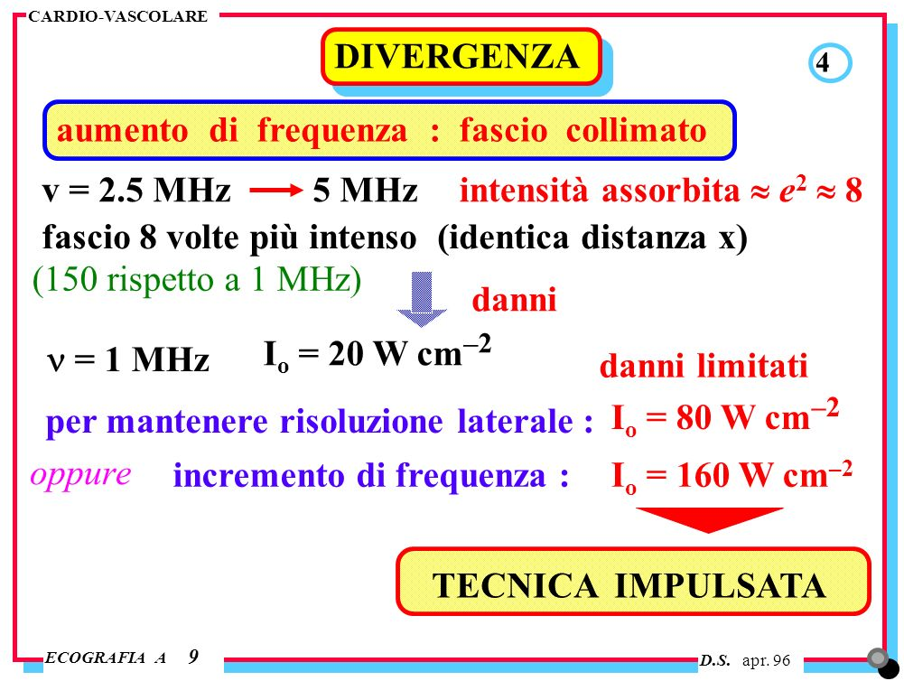 D.S. apr. 96 ECOGRAFIA A CARDIO-VASCOLARE aumento di frequenza : fascio collimato DIVERGENZA 9 4 v = 2.5 MHz 5 MHz intensità assorbita e 2 8 (150 risp