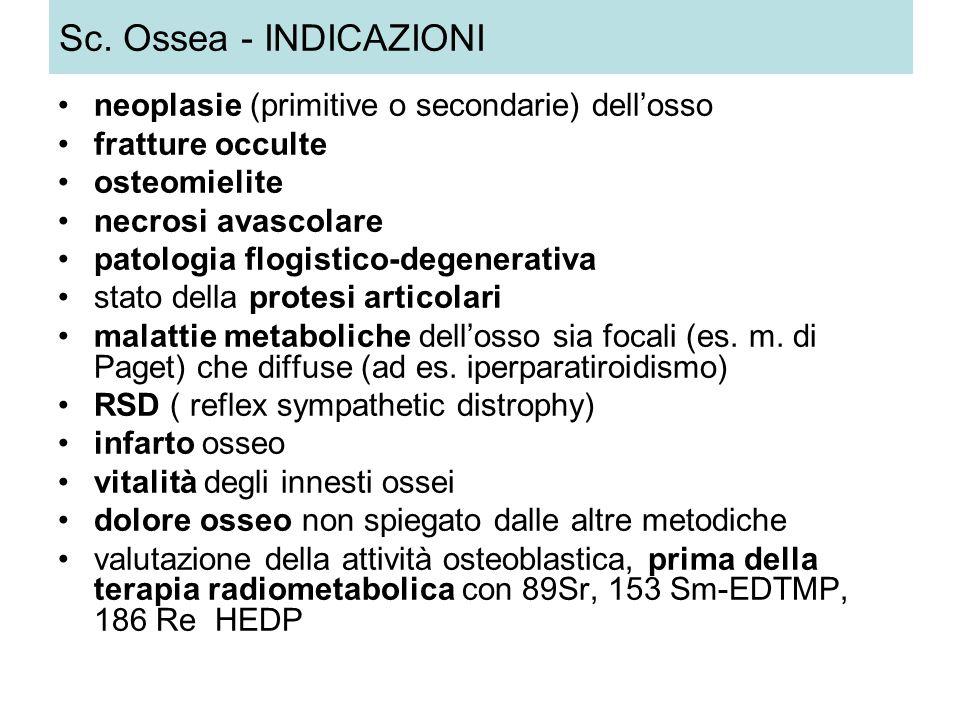 Sc. Ossea - INDICAZIONI neoplasie (primitive o secondarie) dellosso fratture occulte osteomielite necrosi avascolare patologia flogistico-degenerativa