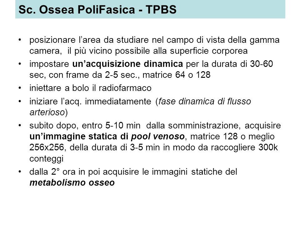 Sc. Ossea PoliFasica - TPBS posizionare larea da studiare nel campo di vista della gamma camera, il più vicino possibile alla superficie corporea impo
